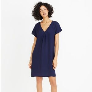 {madewell} moment dress in navy blue crepe